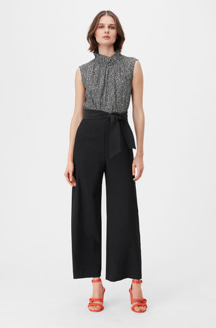 Tailored Block Print Jumpsuit in Black Combo