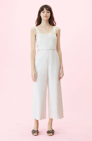 Scalloped Suiting Jumpsuit in Vanilla