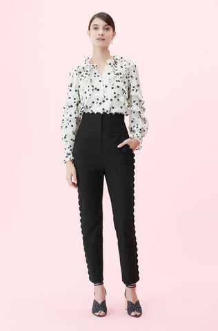 Scalloped Suiting Pant in Black