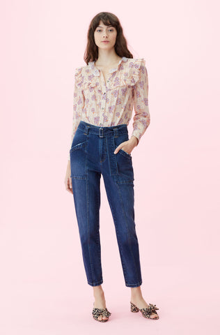 La Vie Adelle Floral Top in Belle Nude Combo