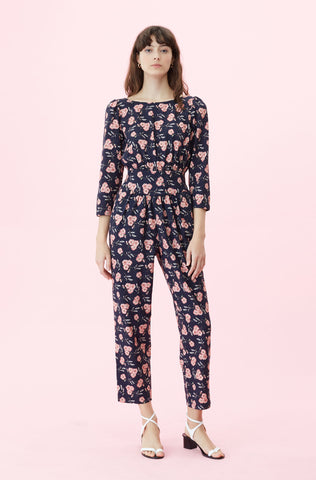 La Vie Adelle Floral Jumpsuit in Midnight Navy Combo