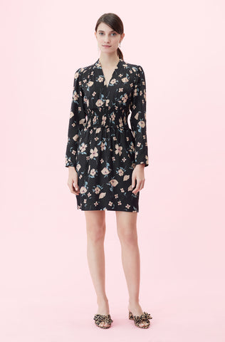 Daniella Floral V-Neck Dress in Black Combo