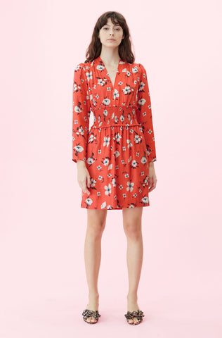 Daniella Floral V-Neck Dress in Punch Combo
