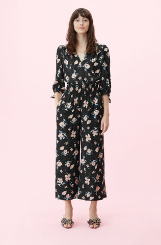 Daniella Floral Smocked Pant in Black Combo