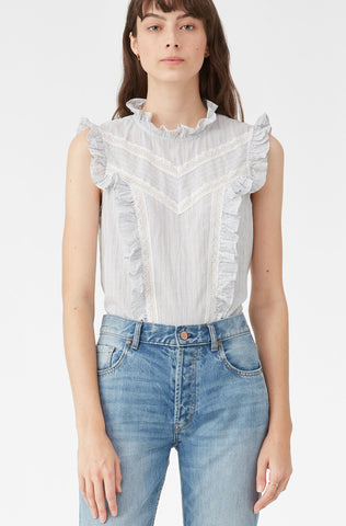 La Vie Stripe Lace Ruffle Top in Sky Dust Combo