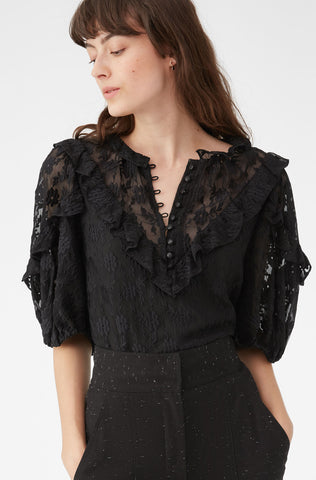 Floral Vine Embroidered Ruffle Top in Black Combo