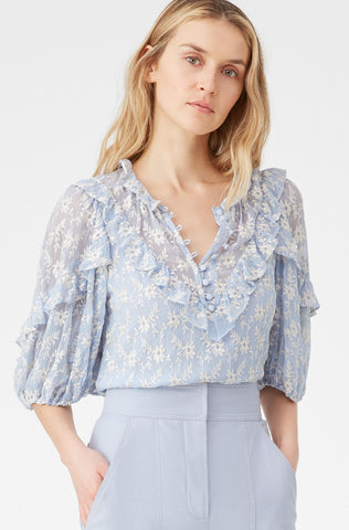 Floral Vine Embroidered Ruffle Top in Echo Blue Combo