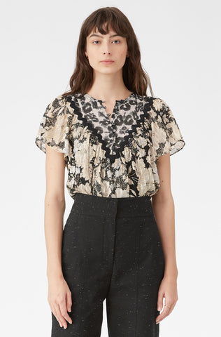 Gold Leaf Fleur Clip Top in Black Combo