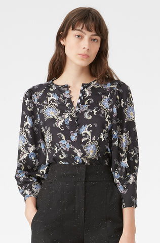 Paisley Fleur Silk Twill Top in Black Combo