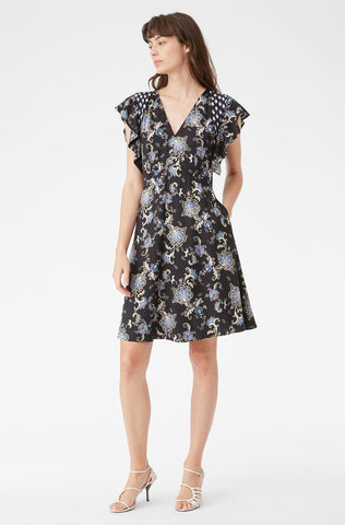 Paisley Fleur Silk Twill Dress in Black Combo