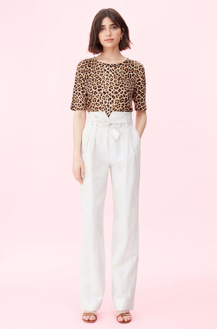 Pinstripe Linen Belted Pant in Snow Combo