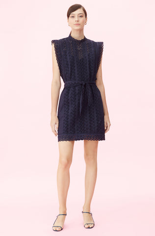 Karina Eyelet Dress in Navy