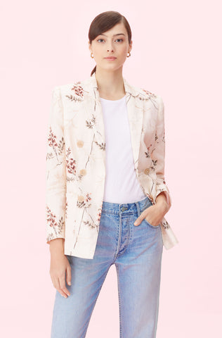 Sprig Floral Embroidered Blazer in Cream Combo