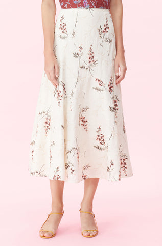 Sprig Floral Embroidered Skirt in Cream Combo