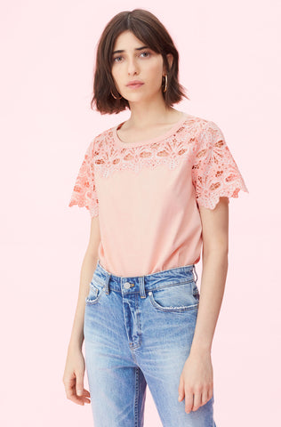La Vie Embroidered Clean Jersey Tee in Peach Sucre