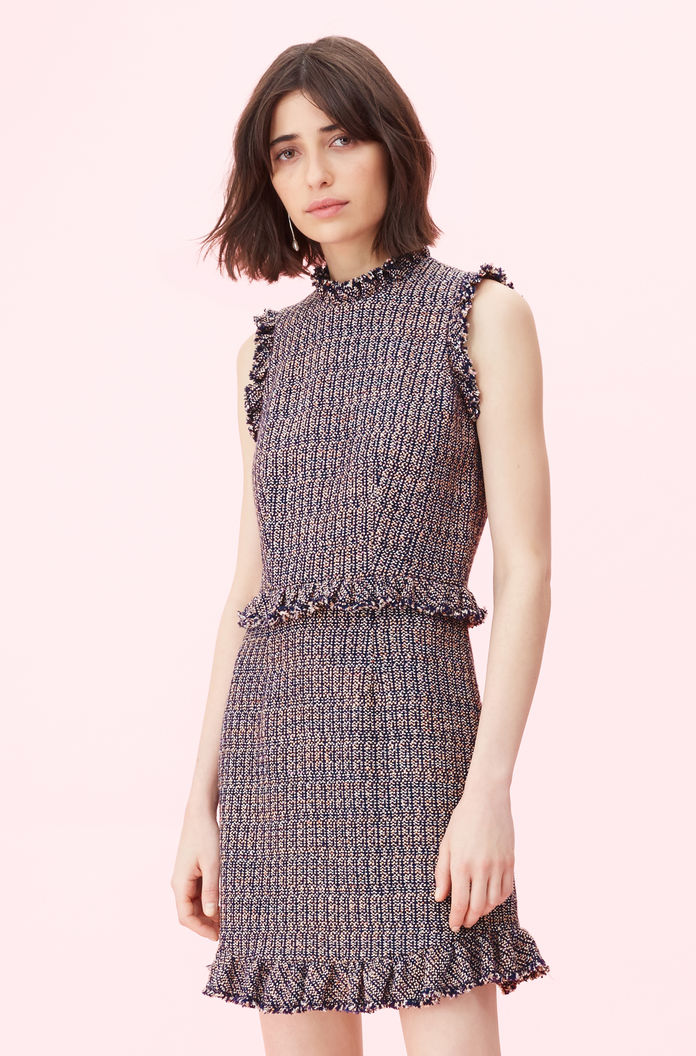 db6457979398 Rebecca Taylor | Tweed Dress in Pink/Navy Combo | Rebecca Taylor RNTD