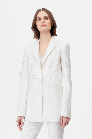 Tailored Eyelet Embroidered Jacket in Snow
