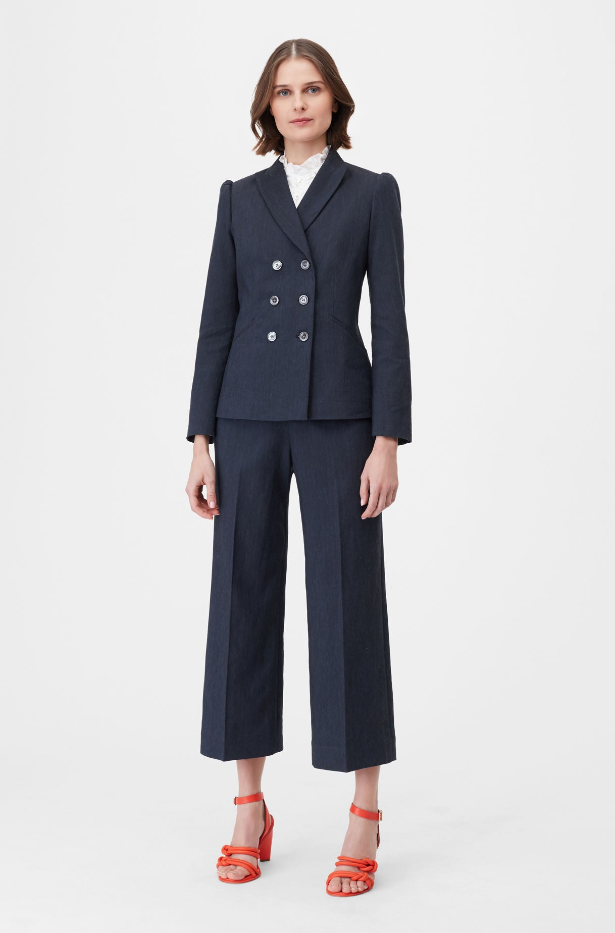 0ba9c3fbe252b Rebecca Taylor | Tailored Stretch Linen Blend Jacket in Dark Navy ...