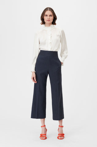 Tailored Stretch Linen Blend Cropped Pant in Dark Navy