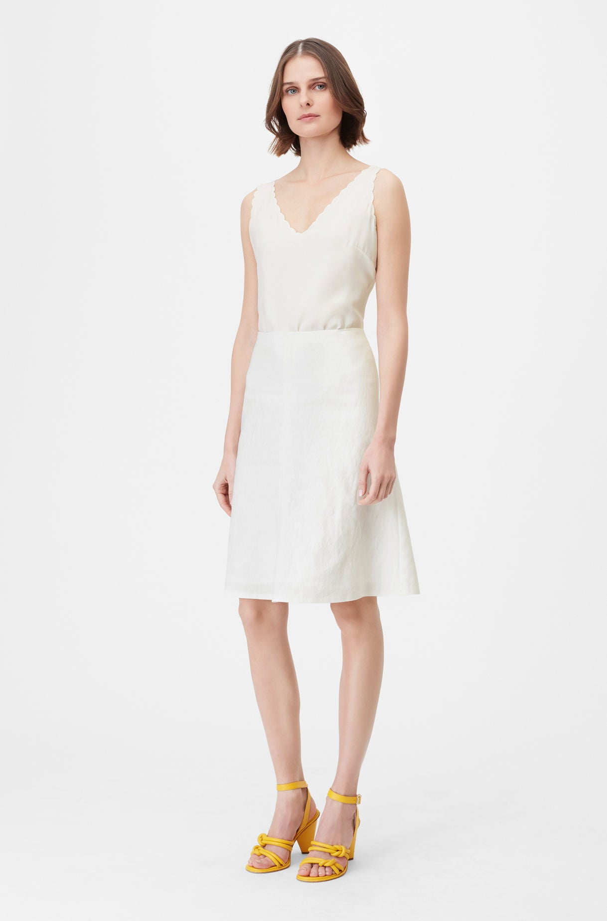 f4a840edef65c Rebecca Taylor | Tailored Stretch Linen Blend Skirt in Snow ...