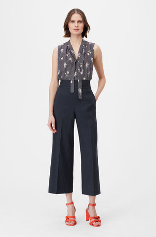 Tailored Widflower Dot Silk Jacquard Top in Navy Combo