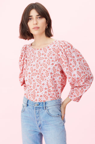 La Vie Wave Paisley Top in Soft Scarlet Combo