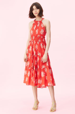 La Vie Catrine Voile Dress in Soft Scarlet Combo
