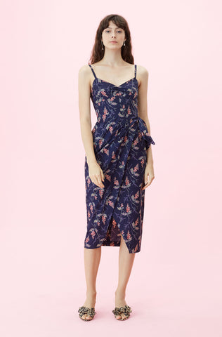 Sprig Floral Print Wrap Dress in Navy Combo