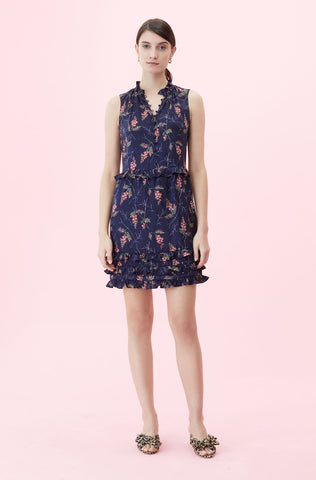 Sprig Floral Print Jacquard Dress in Navy Combo