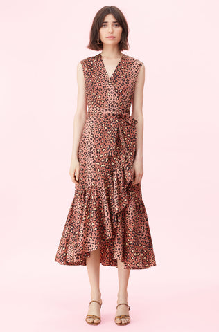 Spring Leopard Wrap Dress in Henna