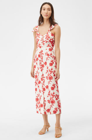 Scarlet Embroidered Dress in Ivory/Red Coral