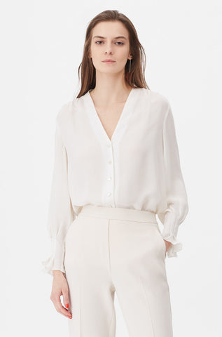 Tailored Silk Double Georgette Top in Snow