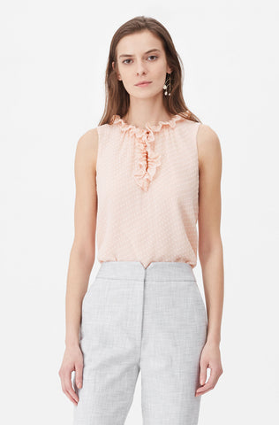 Tailored Satin Dot Clip Top in Shell Pink