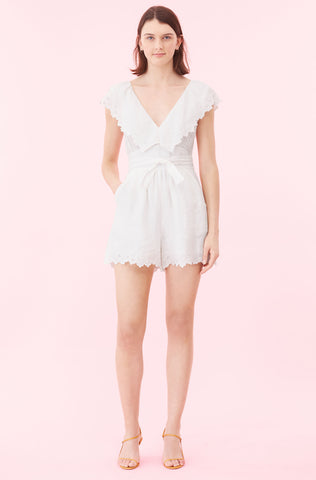 La Vie Embroidered Linen Romper in Milk