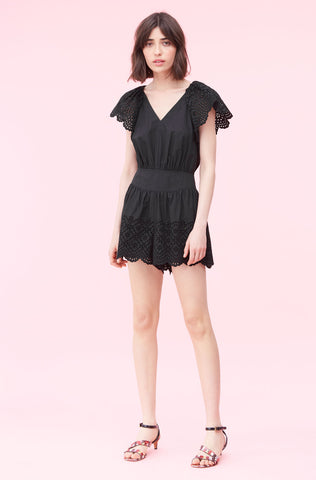 La Vie Agatha Embroidered Romper in Black