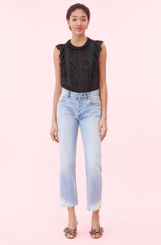 La Vie Cendrine Embroidered Top in Black