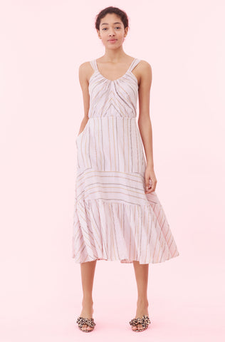 La Vie Lurex Stripe Dress in Faded Lilac