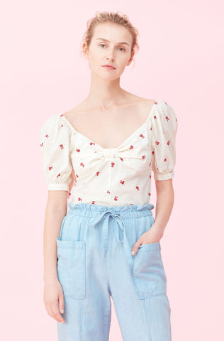 La Vie Marguerite Embroidered Top in Nectar/Red Currant