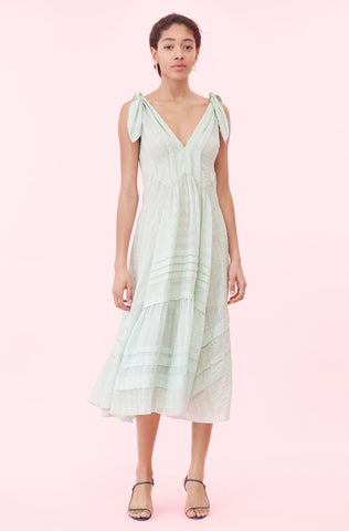 Silk Satin Stripe Dress in Spearmint