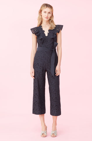 Clover Embroidered Jumpsuit in Navy