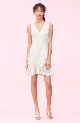 Nicola Embroidered Wrap Dress in Cream