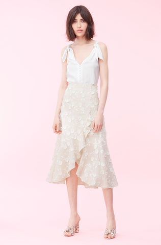 Nicola Embroidered Wrap Skirt in Cream