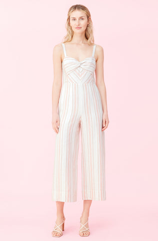 Yarn Dyed Stripe Jumpsuit in Snow