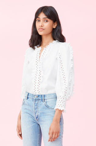Petal Embroidered Top in Milk