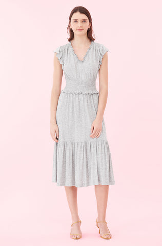 V-Neck Jersey Dress in Grey Melange