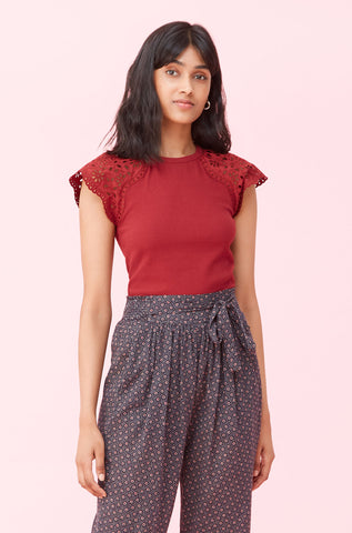 La Vie Sarcelle Embroidered Rib Jersey Tee in Red Currant