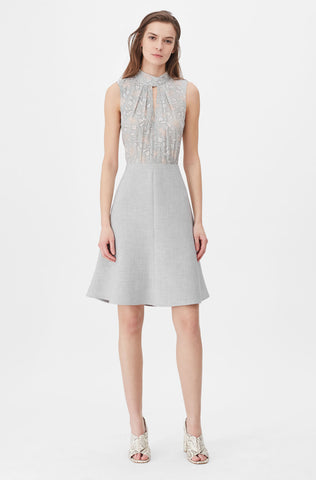 Tailored Aime Jacquard & Clean Suiting Dress in Grey Combo