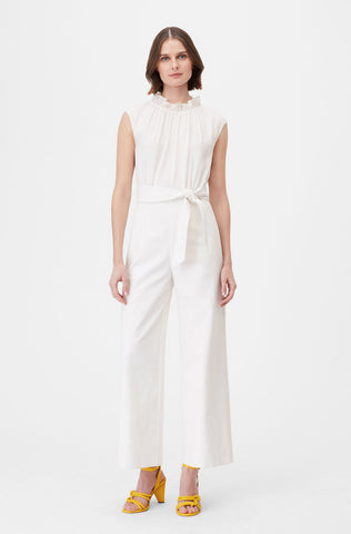 Tailored Silk & Stretch Modern Suiting Jumpsuit in Snow