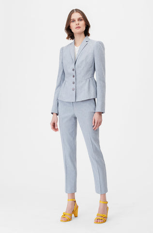 Tailored Stretch Linen Blend Jacket in Cornflower