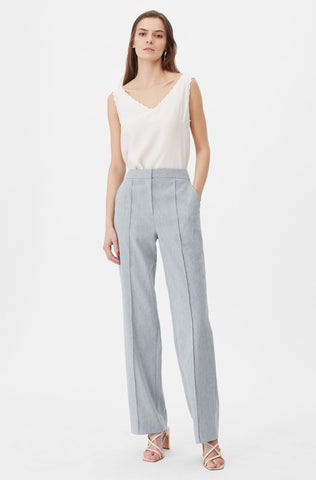 Tailored Stretch Linen Pant in Castor